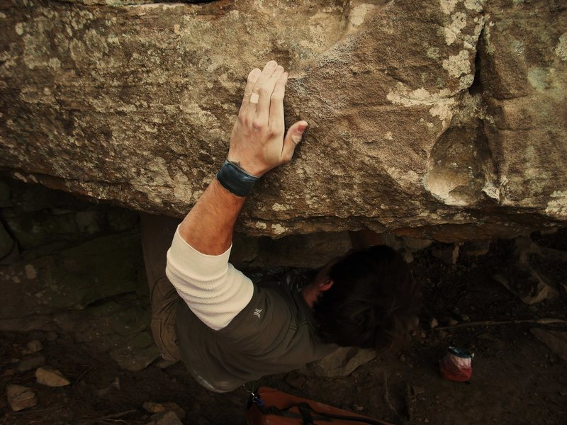 Rock Climbing Photo: Eric pulling the roof on Render V5