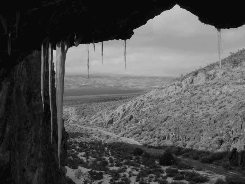 A nice sized 3 bedroom cave in Peekaboo Canyon, Nevada. Icicles included.<br> <br> Taken 2/11/09