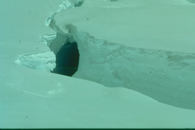 Crevasse in the Kahiltna Glacier, Denali, AK.  These crevasses begin to open in late June (or earlier).