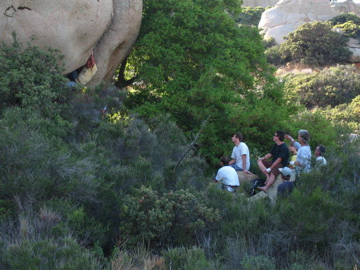 """Greg Cameron, in the light blue long sleeve, (aka Eeyonkee, Grug), Poway Mountaineer extraordinaire, giving beta away to Levy from 20', since he has """"Greg's Climb"""" dialed (the climb is also known as """"Cricket""""), during the Mt. Woodson Shindig reunion in June, 2007."""