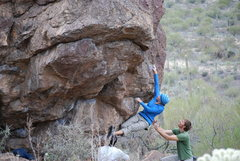 Rock Climbing Photo: Angie climbing at the Upper Boulders. Jan 09.