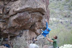 Rock Climbing Photo: Angie climbing at the Upper Boulders. Jan 09.