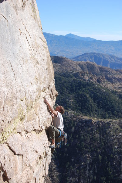 Rock Climbing Photo: Pulling out of the dihedral on this great climb. J...