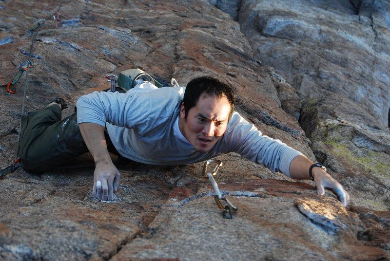 Rock Climbing Photo: Calvin near the top of Arizona Flyways. Jan 09.