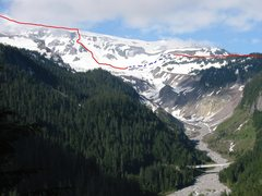 Rock Climbing Photo: Kirk and I skied this gully, off the Muir Snowfiel...