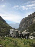 Rock Climbing Photo: Llaca Boulders:  Left- Heist Boulder   Right- The ...