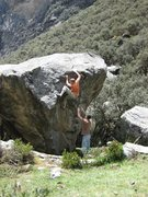Rock Climbing Photo: Ethan on Windshield Wiper V4. (Left arete is The S...