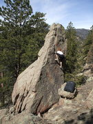 Rock Climbing Photo: Patty Johnson bouldering at Buttonrock Reservoir.