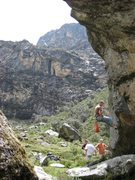 Rock Climbing Photo: Cleaning up new lines at the Llaca Boulders