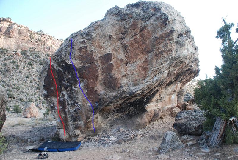 Rock Climbing Photo: Red = V2. Blue = V3.