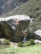 "Rock Climbing Photo: Ethan tops out ""Windshield Wiper"" V4"