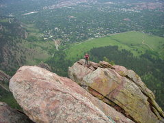 Rock Climbing Photo: Amanda seconding the ridge line June 2008.  Note t...