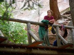 Rock Climbing Photo: Amanda chiling after a day on the 1st Flatiron.  J...