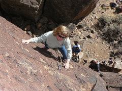 Rock Climbing Photo: Mom on the sharp end on a fine Valentine's Day 200...