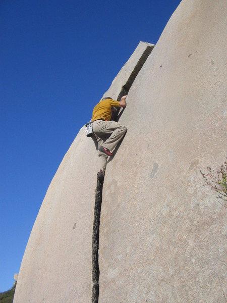 Cameron on the Sickle Crack.  Photo by Elizabeth Benjamin
