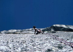 Rock Climbing Photo: Bob Horan runout on Scavenger, Fairview Dome.