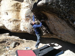 Rock Climbing Photo: Hitting the crimp just before hitting the top.