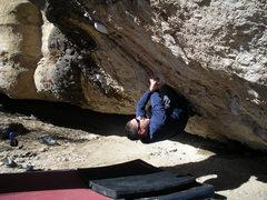 Rock Climbing Photo: Working the start of Phillip's Problem.