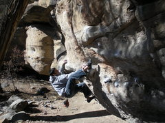 Rock Climbing Photo: Throwing up the heel hook.