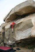 Rock Climbing Photo: Moving onto the slab with air below on Haney Wall,...
