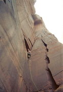 Rock Climbing Photo: After another 20' Dave used the twin cracks on the...