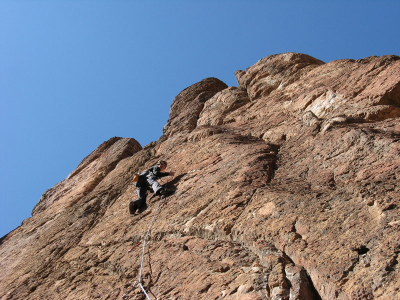 Rock Climbing Photo: Deb on first route at Queen Creek (unk).