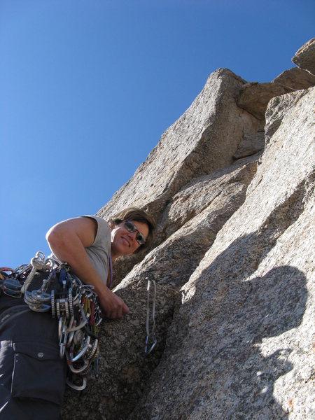 Deb start of South Crack on Pinnacle Peak