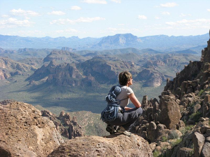 Deb gazing out over Peralta Canyon