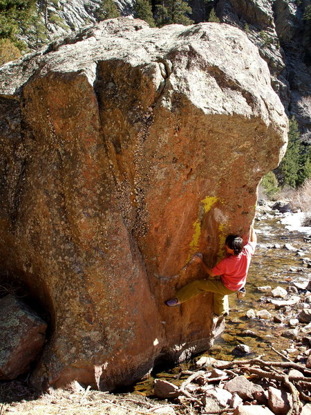 Rock Climbing Photo: BH working on the new Robinson arete on Water Boul...