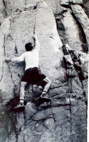 Bob Horan on The Little Flatiron, Devil's Lake, WI, circa 1974.