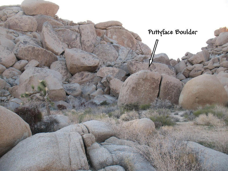 The Puttyface Boulder from the base of the Dripper Boulder, Joshua Tree.