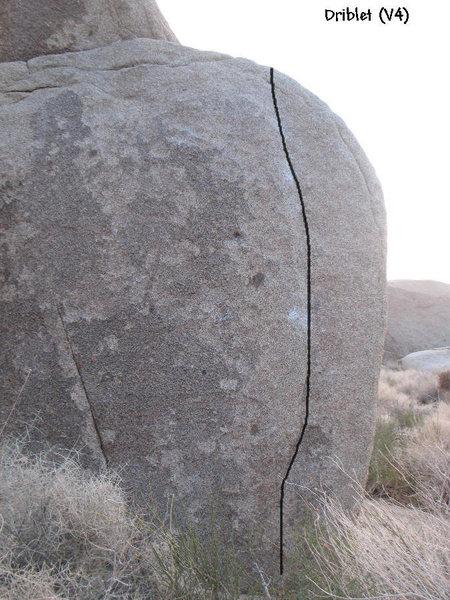 Photo/topo for Driblet (V4), Joshua Tree.