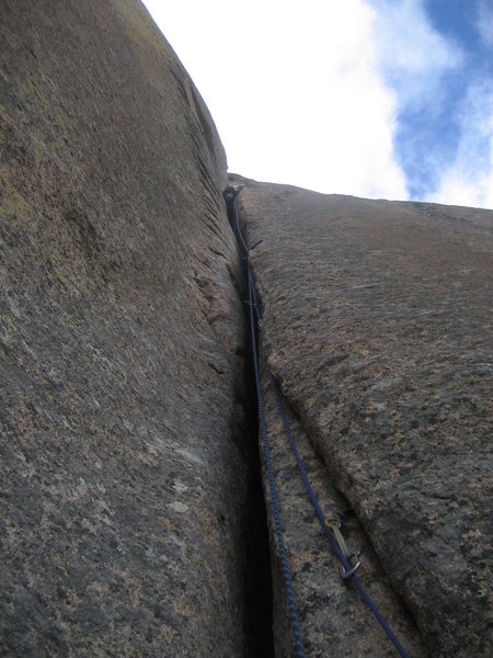 David Merin at the end of the Offwidth pitch in a cold February day (today).<br> Photo by Andy Bemis.