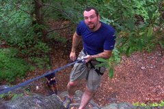"Rock Climbing Photo: Rappelling the ""Practice Face"" @ DWG, PA"