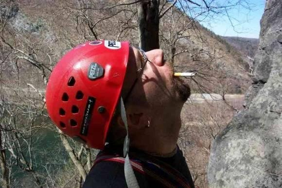 """Joey belaying for Gregg on """"Triumverate"""" 5.4 on the NJ side of the DWG"""