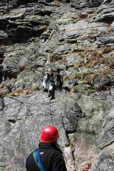 "Kim belaying Joey on ""Tanemund"" 5.6 NJ side of the DWG"