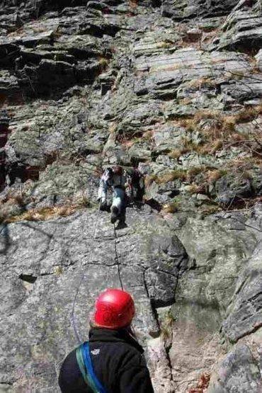"Rock Climbing Photo: Kim belaying Joey on ""Tanemund"" 5.6 NJ s..."