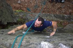 "Rock Climbing Photo: Joey on ""Drifting Arrow"" 5.8 PA side of ..."