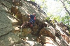 "Rock Climbing Photo: Joey on ""No Midgets"" 5.9, Practice Wall"
