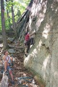 "Rock Climbing Photo: Joey starting ""Hourglass"" 5.9+ on the Ma..."