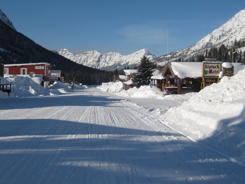 downtown Cooke City. looking due west at Barronette Peak in the background.