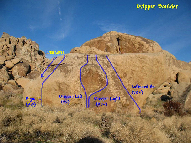 Photo/topo for the Dripper Boulder, Joshua Tree. <br>
