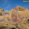 Photo/topo for the Dripper Boulder, Joshua Tree. <br>