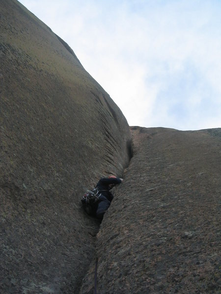 Rock Climbing Photo: Offwidth hell on the 2nd pitch ...