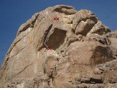 Rock Climbing Photo: Goof Proof Roof - topo  Shows bolt / head ladder a...