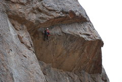 Rock Climbing Photo: Bill Sherman cleaning P2