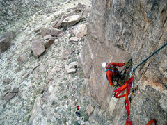 Rock Climbing Photo: Finishing cleaning the roof.  Also showing the fin...