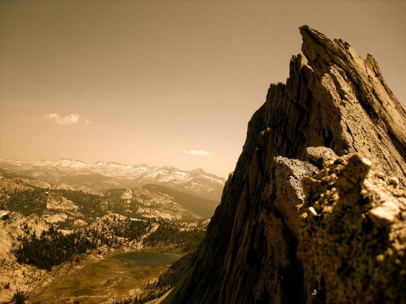 Rock Climbing Photo: Looking back at the rock cornice pitch after soloi...
