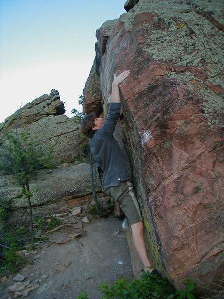 "Rock Climbing Photo: Crazy Pete on ""The Slapper""."
