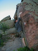 "Rock Climbing Photo: Crazy Pete on ""The Slapper""."
